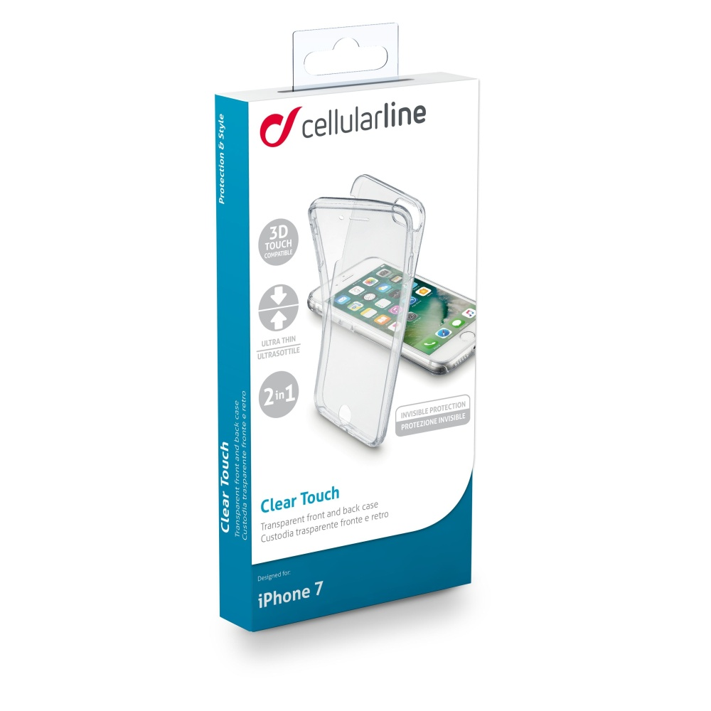 Oboustranný ultratenky kryt CellularLine Clear Touch pro Apple iPhone 7, čiré