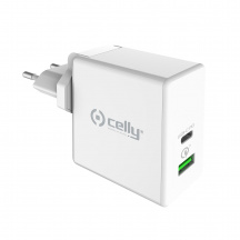 Nabíječka CELLY PRO POWER s USB-C, Power Delivery, Quick Charge 3.0, 45W, Bílá