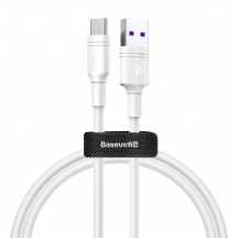 Datový kabel Baseus Double-Ring Quick Charge USB do USB-C 5A, 1 m, Bílá