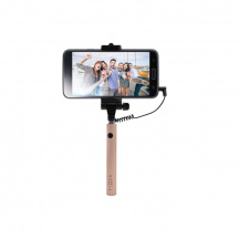 Kompaktní Selfie Stick FIXED Snap Mini se spouští přes 3,5mm jack, Rose Gold