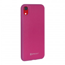 Stilgut® kožený kryt Case with Leather pro Apple iPhone XR, Magenta
