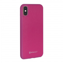 Stilgut® kožený kryt Case with Leather pro Apple iPhone XS, Magenta