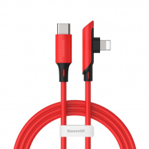 Zalomený datový kabel Baseus Colourful Elbow USB type-C do Lightning PD 18W 1,2 m, Červená