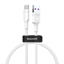 Datový kabel Baseus Double-Ring Quick Charge USB do USB-C 5A, 0,5 m, Bílá
