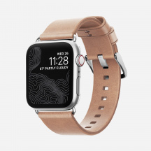 Kožený řemínek Nomad Leather Strap pro Apple Watch Series 1/2/3/4 (38/40 mm), Natural/stříbrná